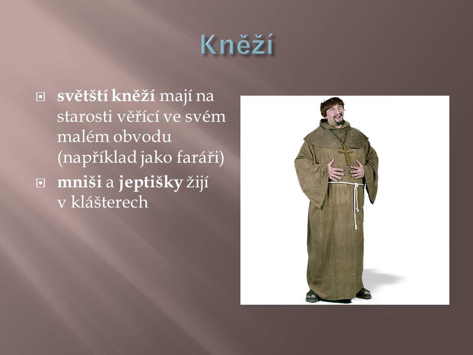 Kněží světští kněží mají na starosti věřící ve svém malém obvodu (například jako faráři) mniši a jeptišky žijí v klášterech.