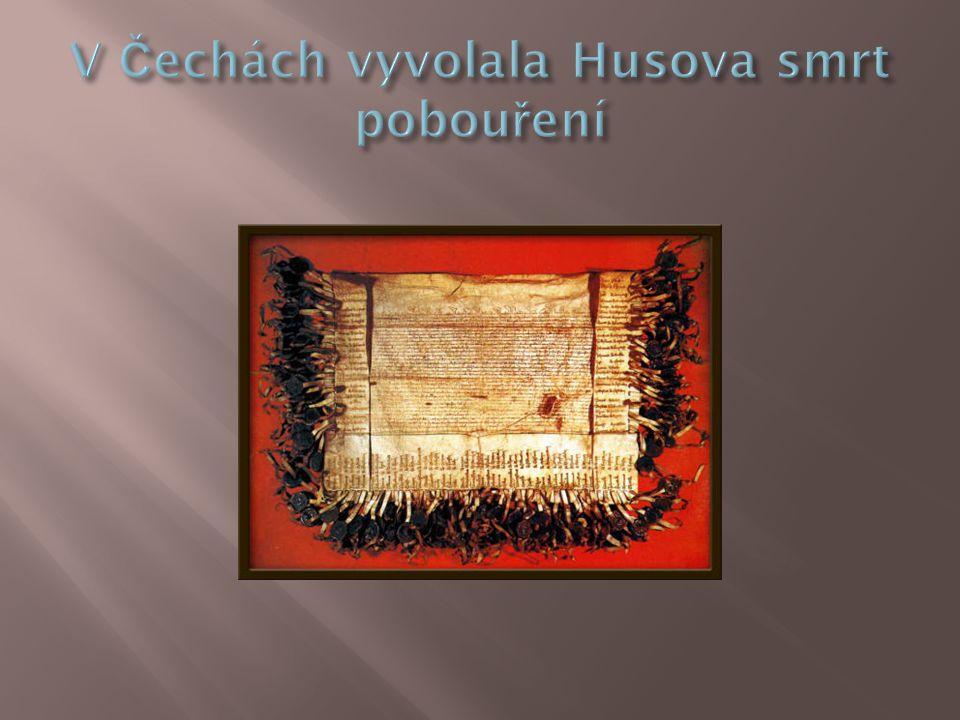 V Čechách vyvolala Husova smrt pobouření