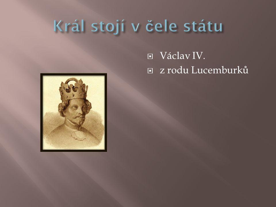 Král stojí v čele státu Václav IV. z rodu Lucemburků