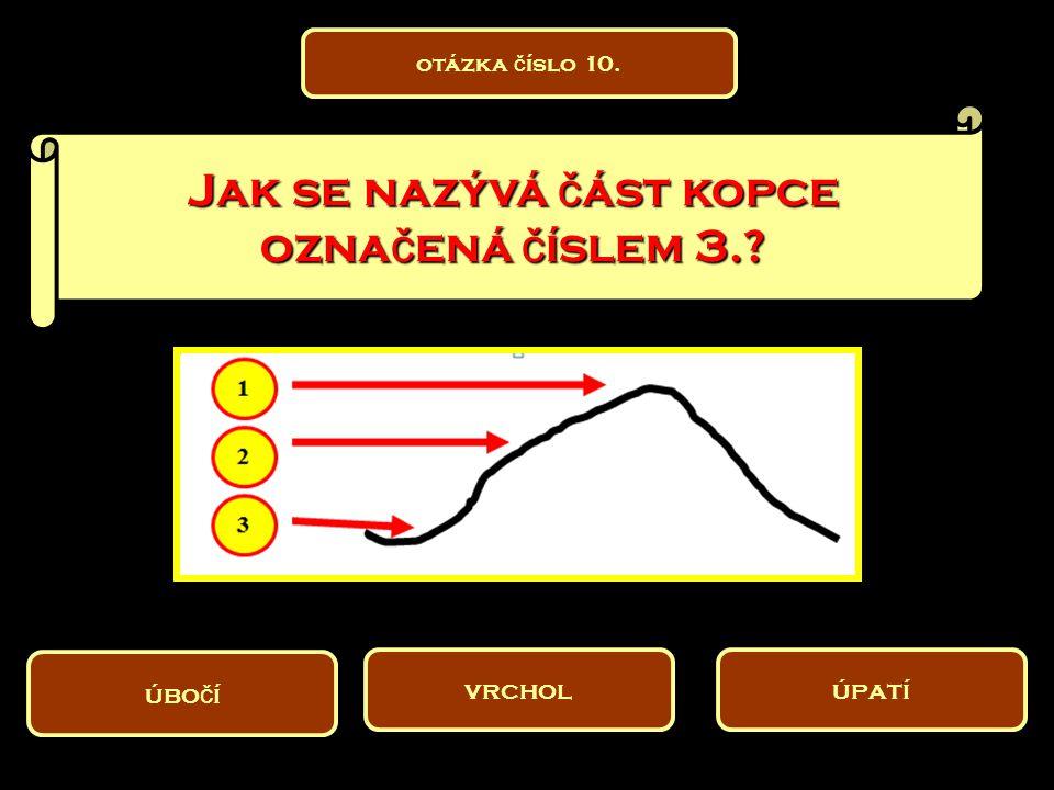 Jak se nazývá část kopce označená číslem 3.