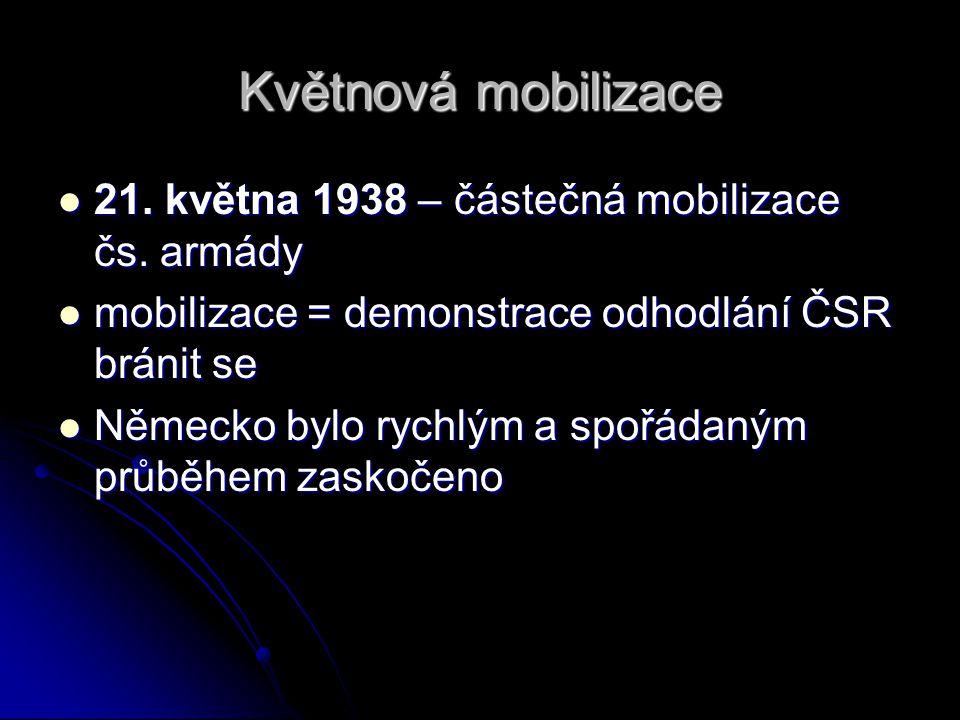Květnová mobilizace 21. května 1938 – částečná mobilizace čs. armády