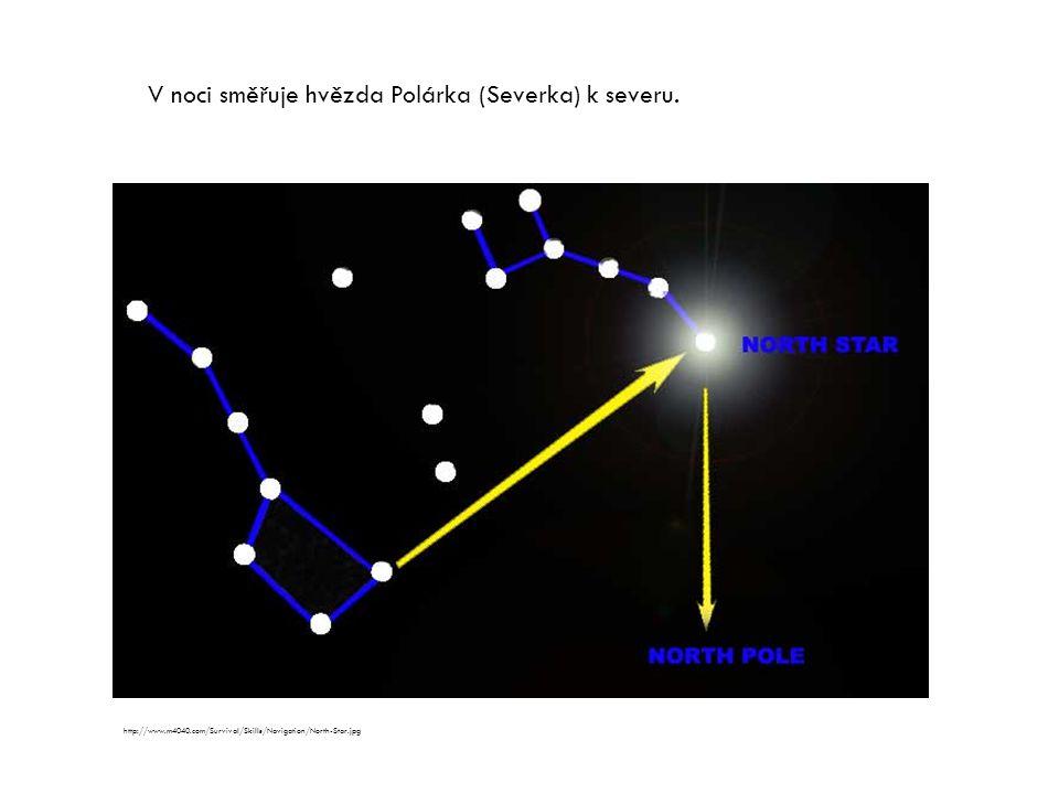 V noci směřuje hvězda Polárka (Severka) k severu.