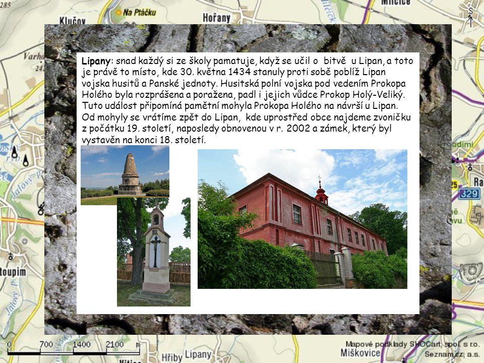 Lipany: snad každý si ze školy pamatuje, když se učil o bitvě u Lipan, a toto je právě to místo, kde 30. května 1434 stanuly proti sobě poblíž Lipan vojska husitů a Panské jednoty.