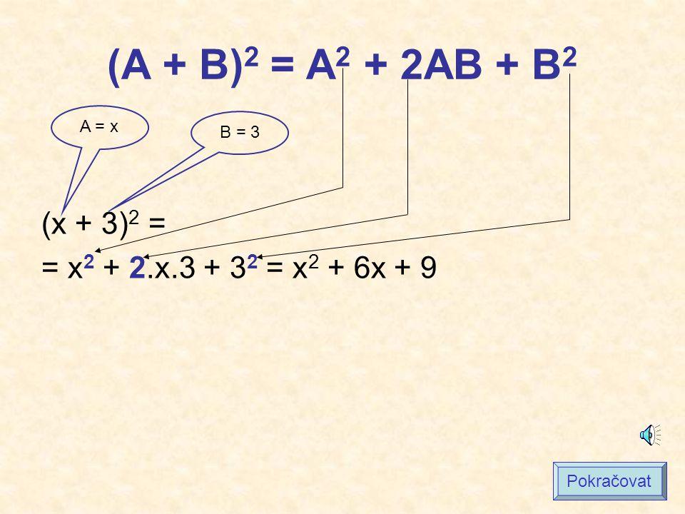 (A + B)2 = A2 + 2AB + B2 (x + 3)2 = = x2 + 2.x.3 + 32 = x2 + 6x + 9