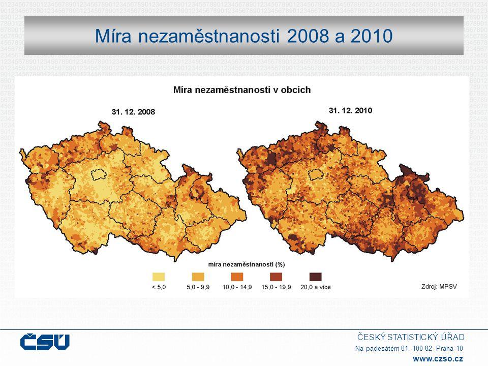 Míra nezaměstnanosti 2008 a 2010