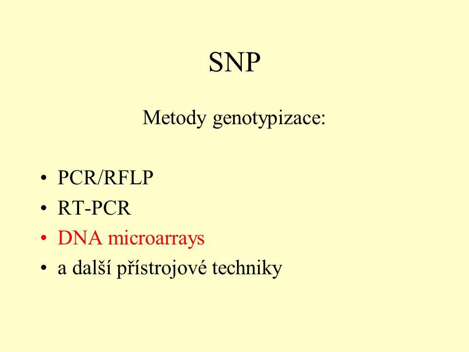 SNP Metody genotypizace: PCR/RFLP RT-PCR DNA microarrays