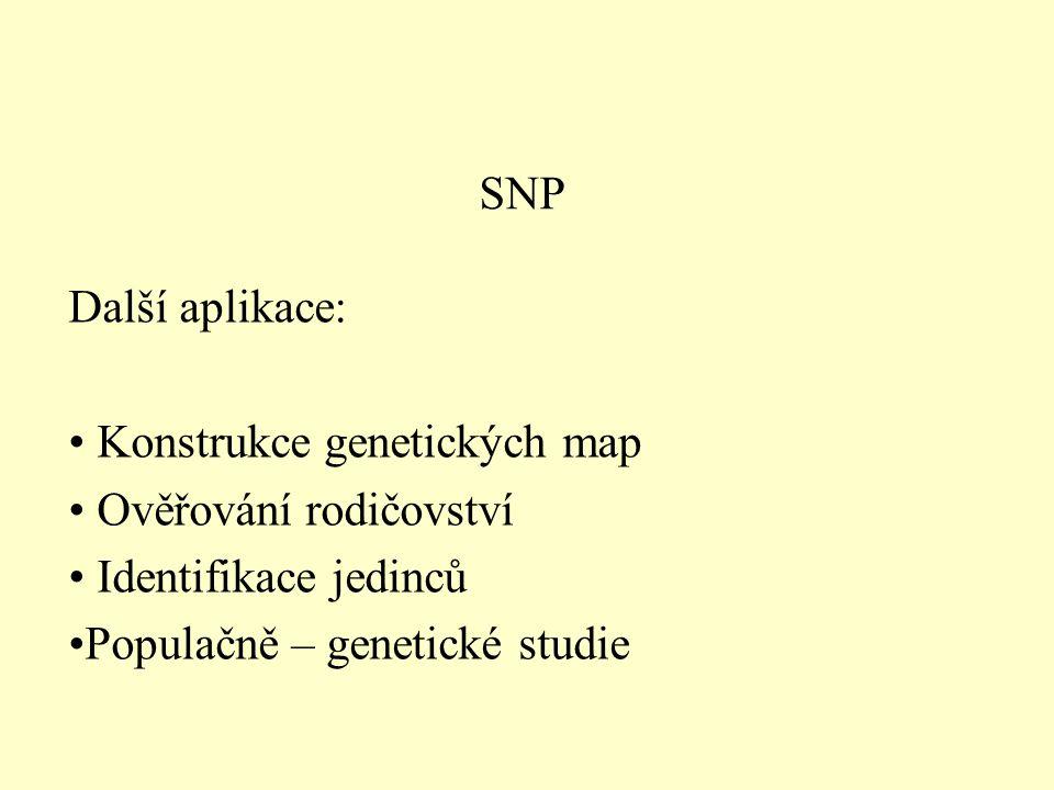 SNP Další aplikace: Konstrukce genetických map. Ověřování rodičovství.