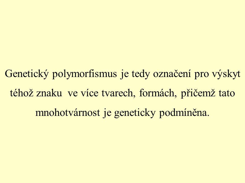 Genetický polymorfismus je tedy označení pro výskyt téhož znaku ve více tvarech, formách, přičemž tato mnohotvárnost je geneticky podmíněna.