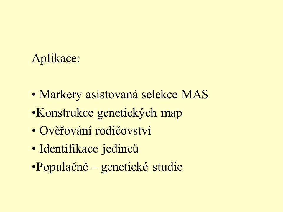 Aplikace: Markery asistovaná selekce MAS. Konstrukce genetických map. Ověřování rodičovství. Identifikace jedinců.