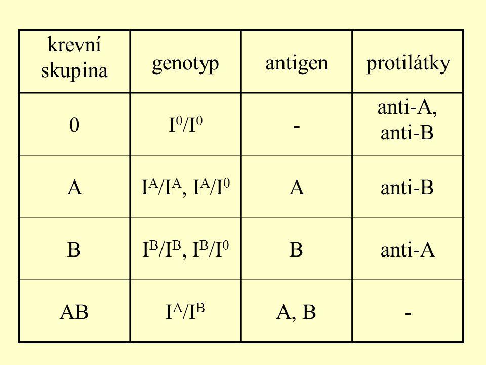krevní skupina genotyp. antigen. protilátky. I0/I0. - anti-A, anti-B. A. IA/IA, IA/I0. B. IB/IB, IB/I0.