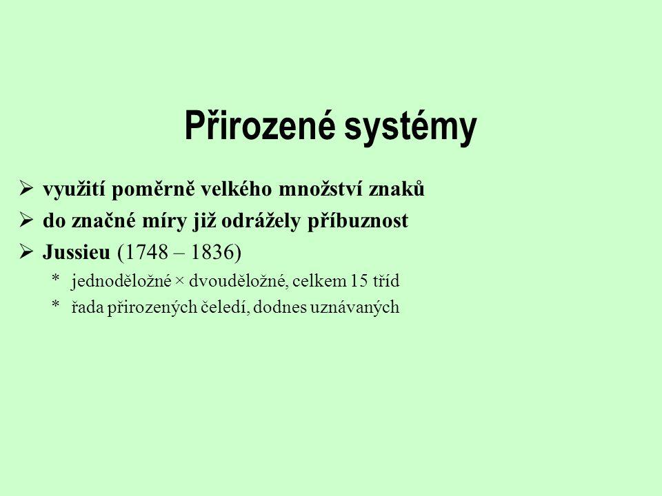 Přirozené systémy využití poměrně velkého množství znaků
