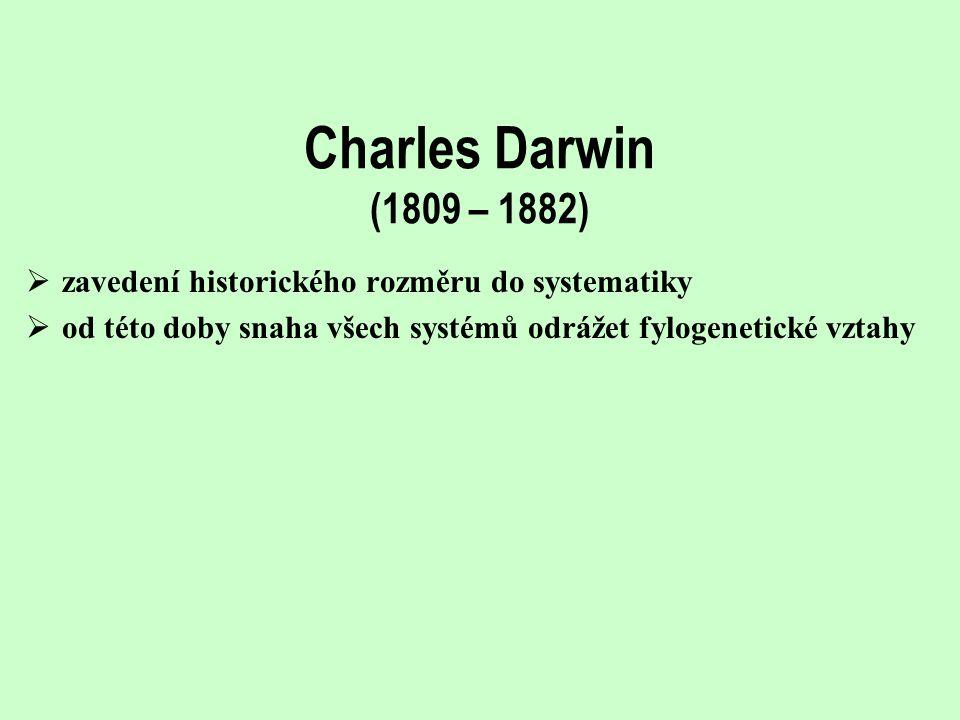 Charles Darwin (1809 – 1882) zavedení historického rozměru do systematiky.