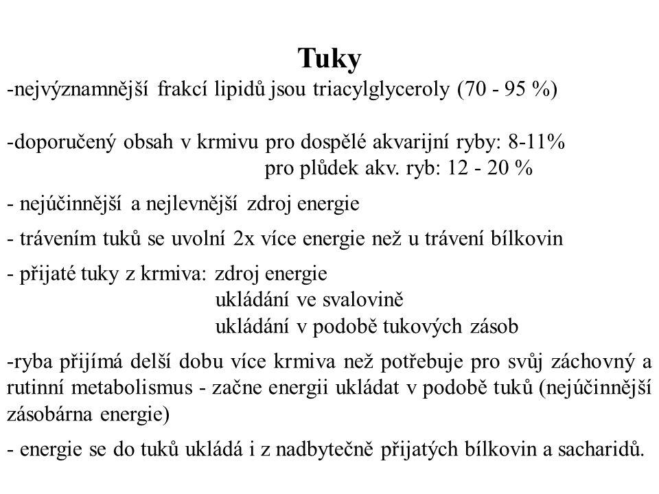 Tuky nejvýznamnější frakcí lipidů jsou triacylglyceroly (70 - 95 %)