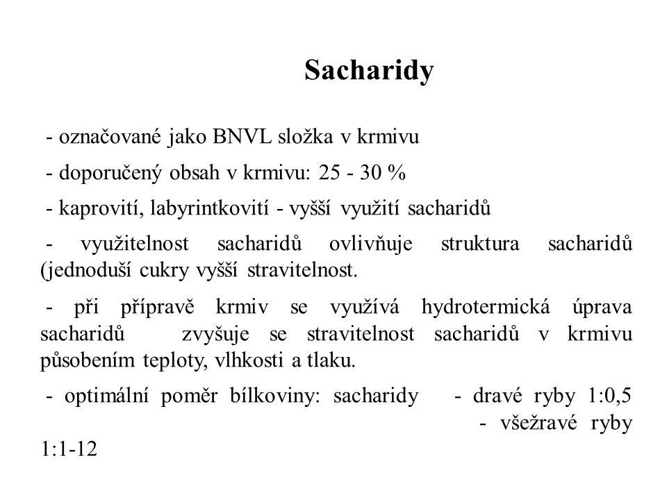 Sacharidy - označované jako BNVL složka v krmivu