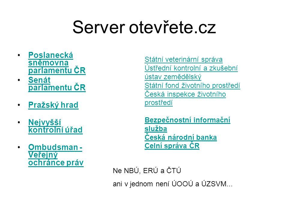 Server otevřete.cz Poslanecká sněmovna parlamentu ČR