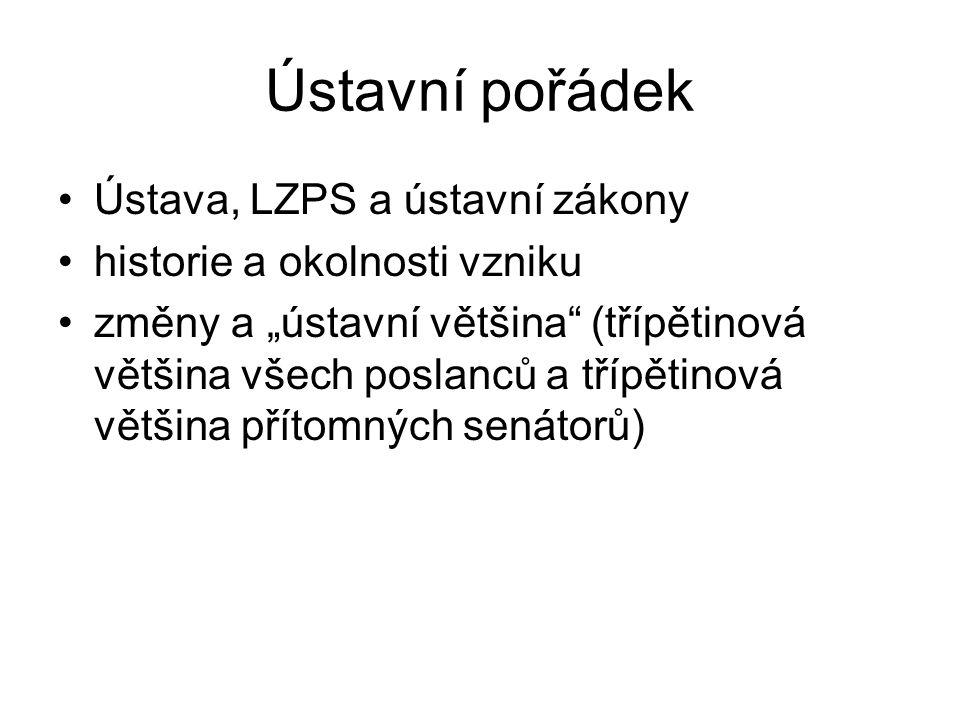 Ústavní pořádek Ústava, LZPS a ústavní zákony