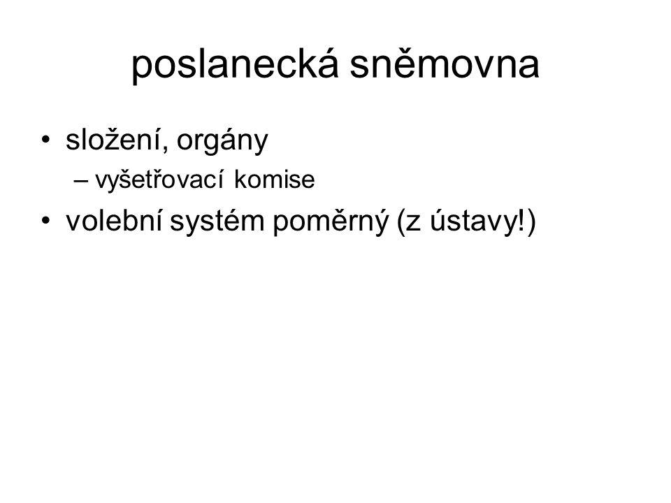 poslanecká sněmovna složení, orgány volební systém poměrný (z ústavy!)