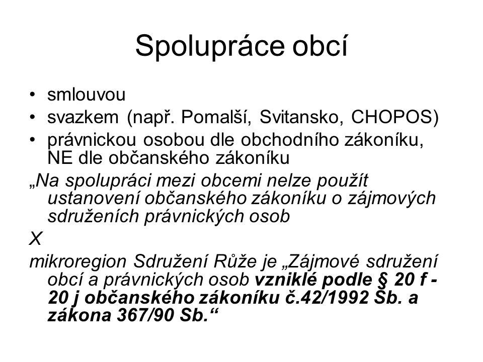 Spolupráce obcí smlouvou svazkem (např. Pomalší, Svitansko, CHOPOS)