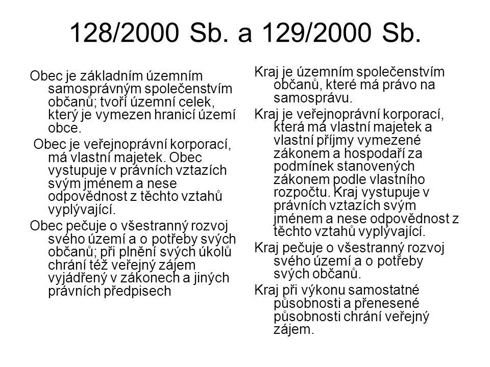 128/2000 Sb. a 129/2000 Sb. Kraj je územním společenstvím občanů, které má právo na samosprávu.