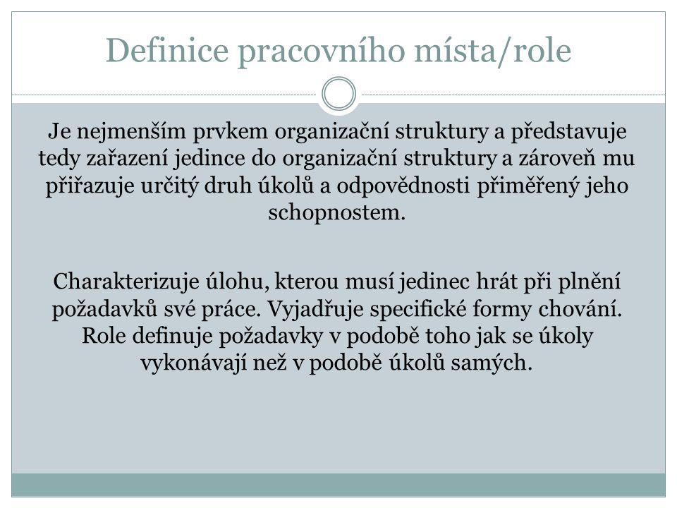 Definice pracovního místa/role
