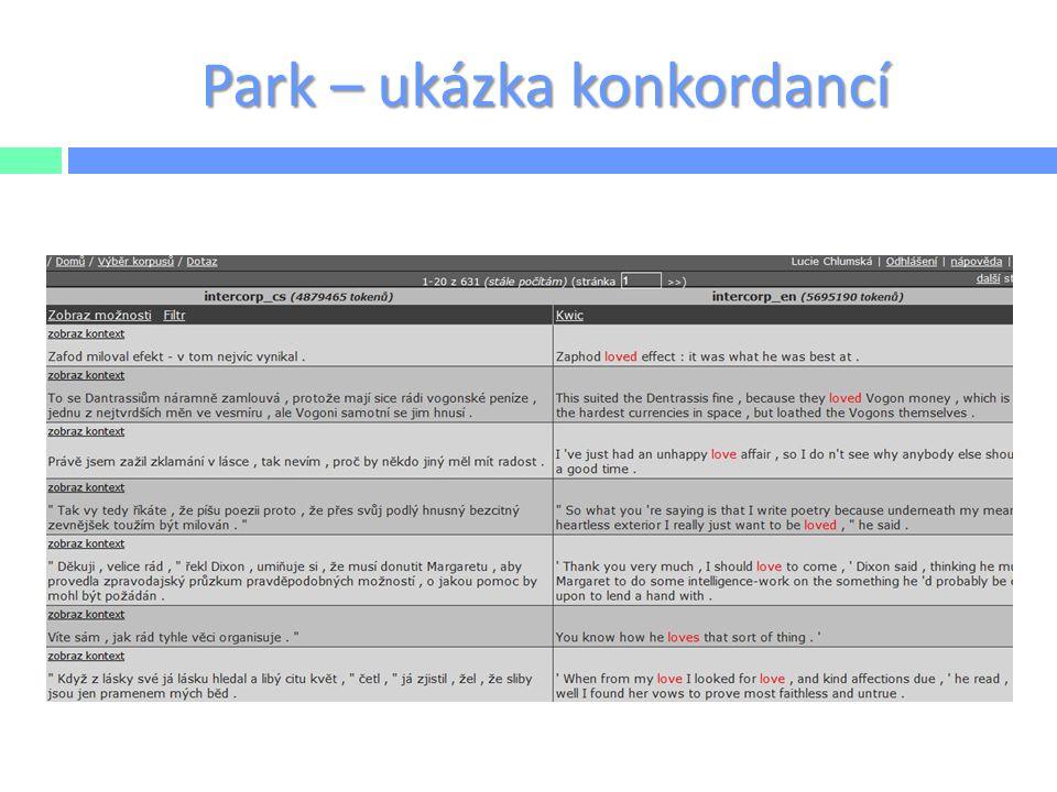Park – ukázka konkordancí