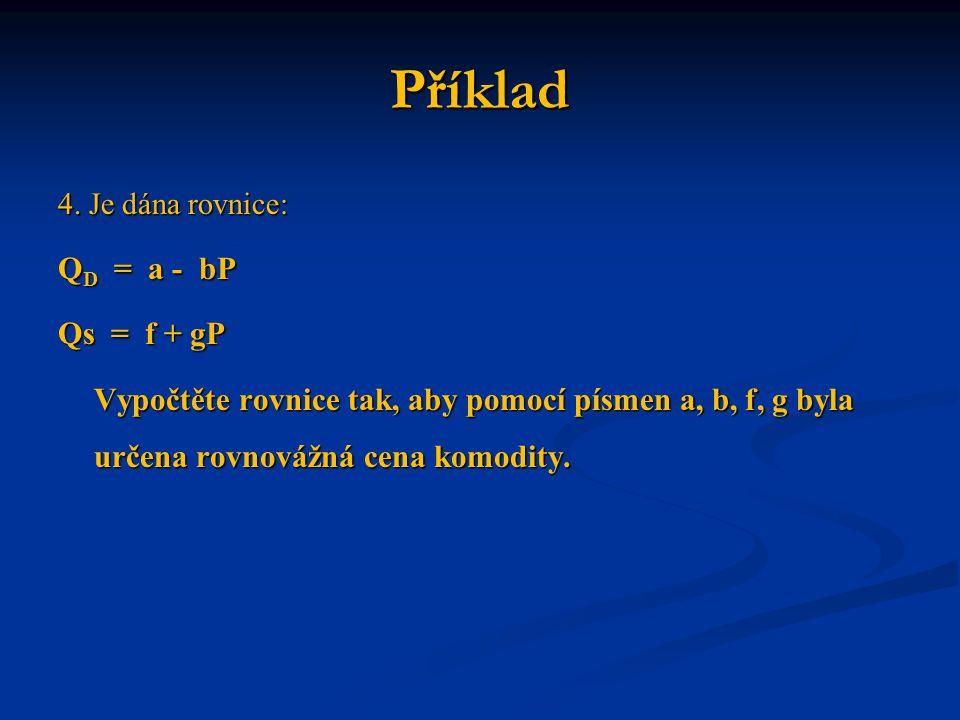 Příklad QD = a - bP Qs = f + gP