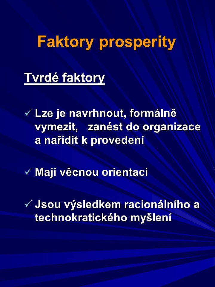 Faktory prosperity Tvrdé faktory