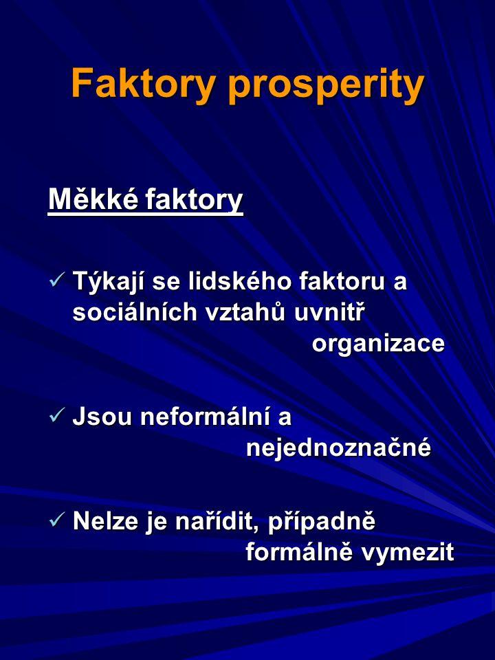 Faktory prosperity Měkké faktory