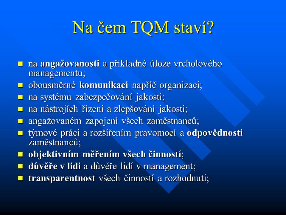 Na čem TQM staví na angažovanosti a příkladné úloze vrcholového managementu; obousměrné komunikaci napříč organizací;