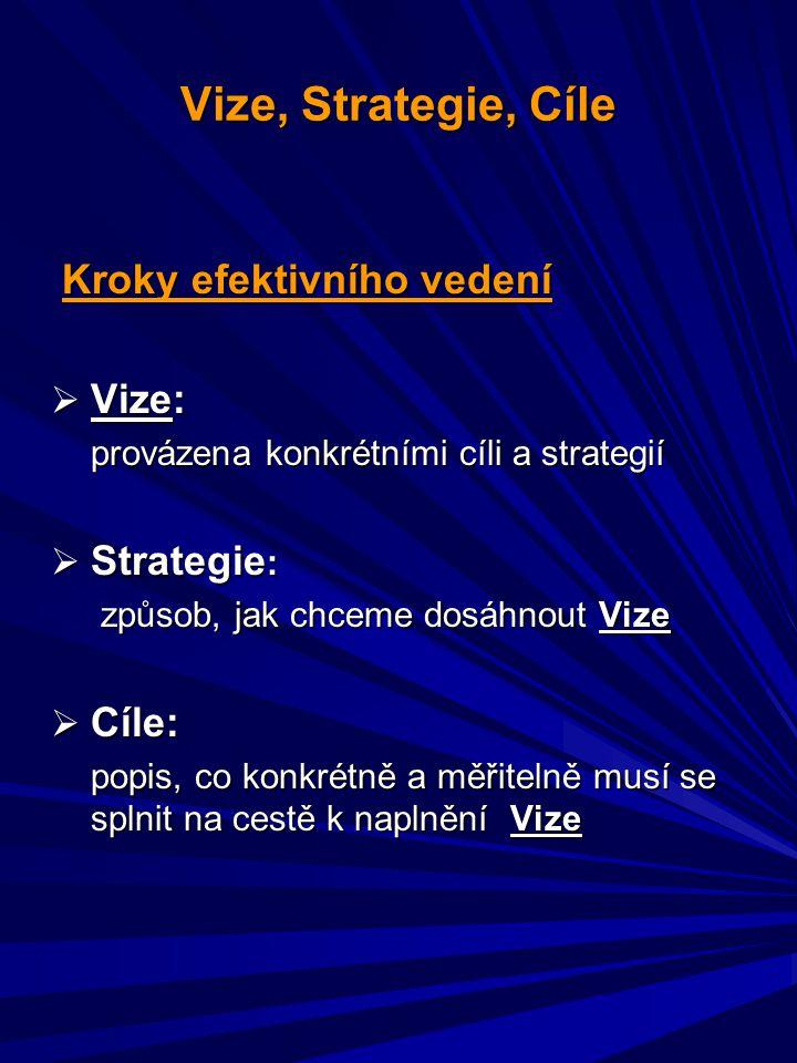 Vize, Strategie, Cíle Kroky efektivního vedení Vize: Strategie: Cíle: