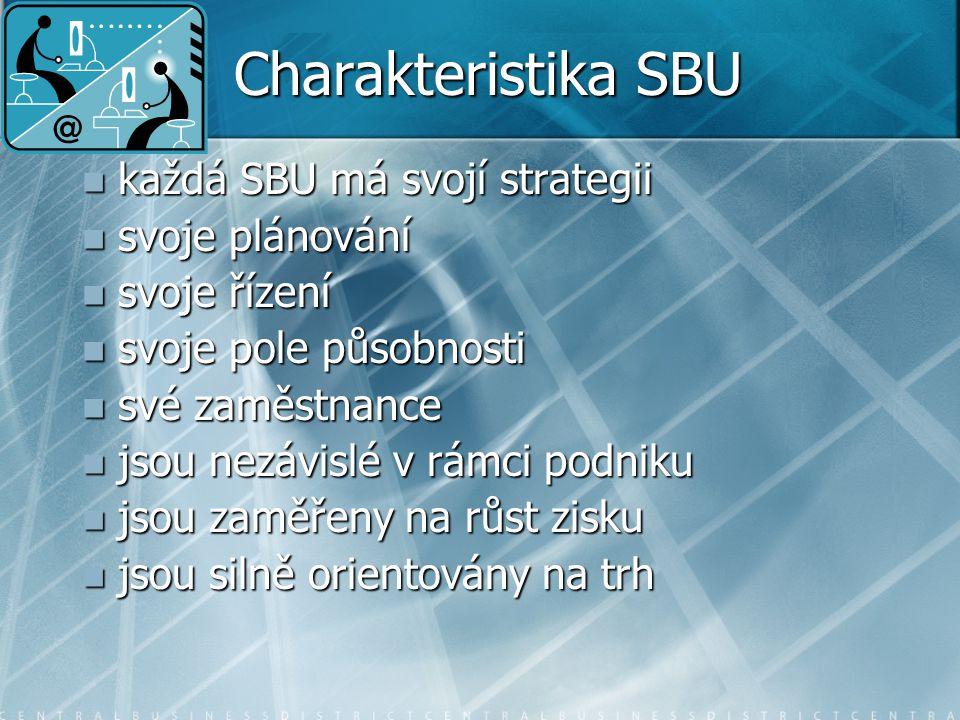 Charakteristika SBU každá SBU má svojí strategii svoje plánování