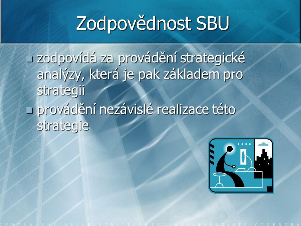 Zodpovědnost SBU zodpovídá za provádění strategické analýzy, která je pak základem pro strategii.