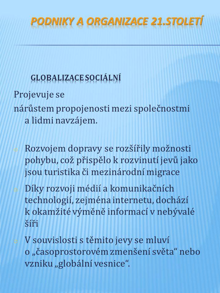 Podniky a organizace 21.století Globalizace sociální