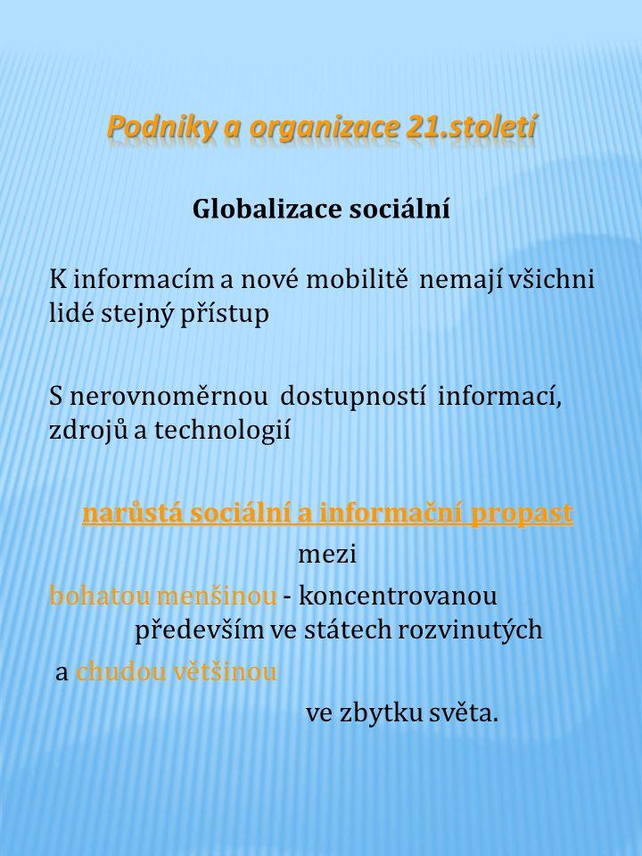 Podniky a organizace 21.století narůstá sociální a informační propast
