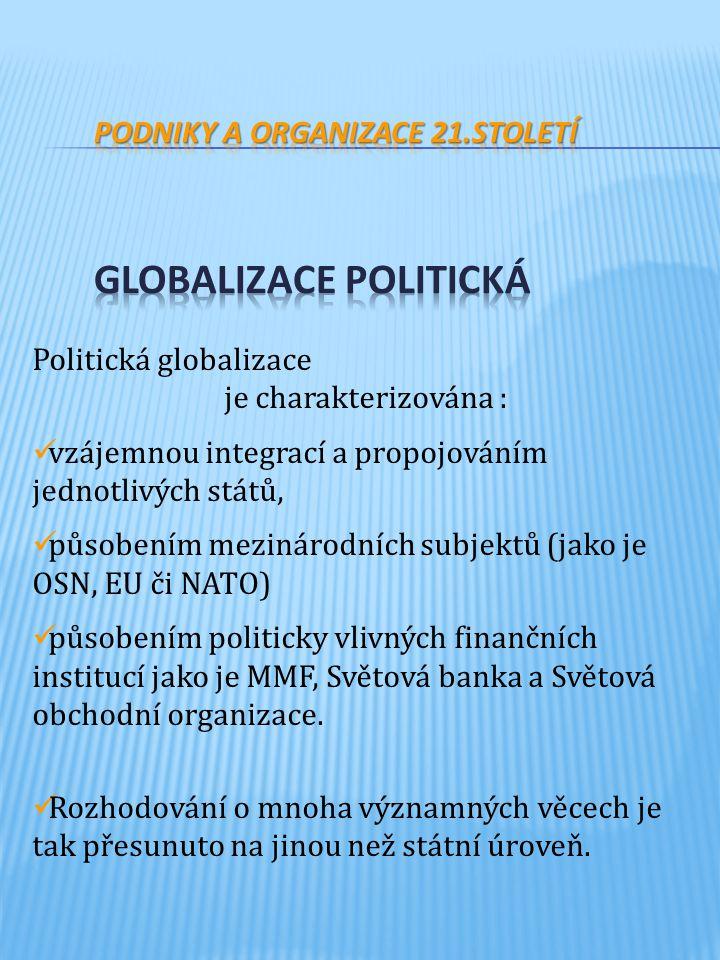 Podniky a organizace 21.století Globalizace politická