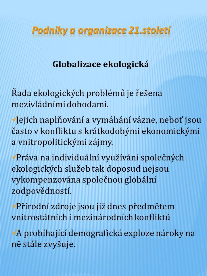 Podniky a organizace 21.století Globalizace ekologická