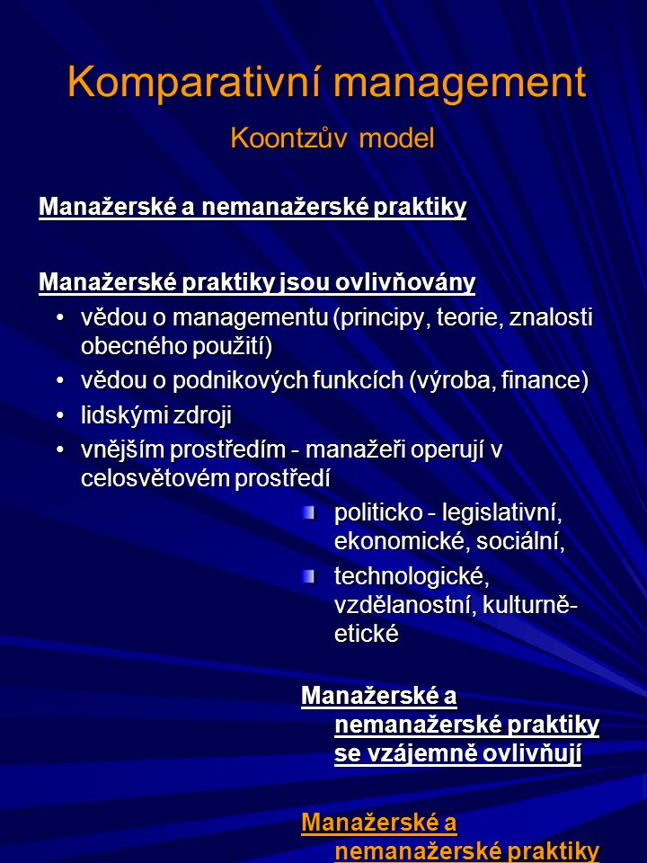 Komparativní management Koontzův model