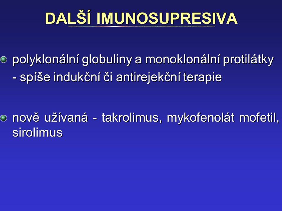 DALŠÍ IMUNOSUPRESIVA polyklonální globuliny a monoklonální protilátky