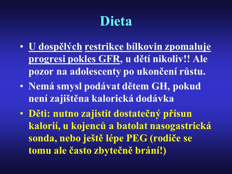 Dieta U dospělých restrikce bílkovin zpomaluje progresi pokles GFR, u dětí nikoliv!! Ale pozor na adolescenty po ukončení růstu.