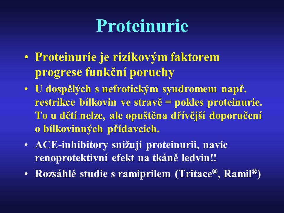 Proteinurie Proteinurie je rizikovým faktorem progrese funkční poruchy