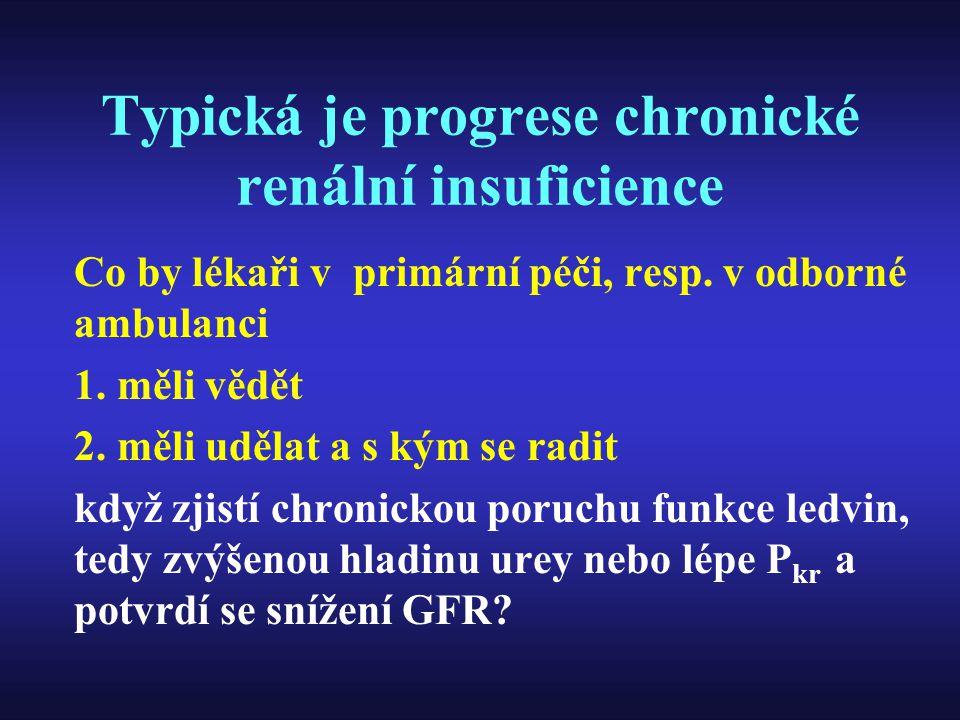 Typická je progrese chronické renální insuficience