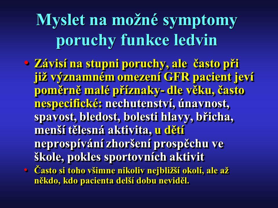 Myslet na možné symptomy poruchy funkce ledvin