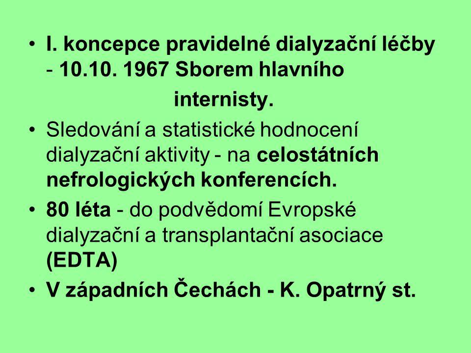 I. koncepce pravidelné dialyzační léčby - 10.10. 1967 Sborem hlavního