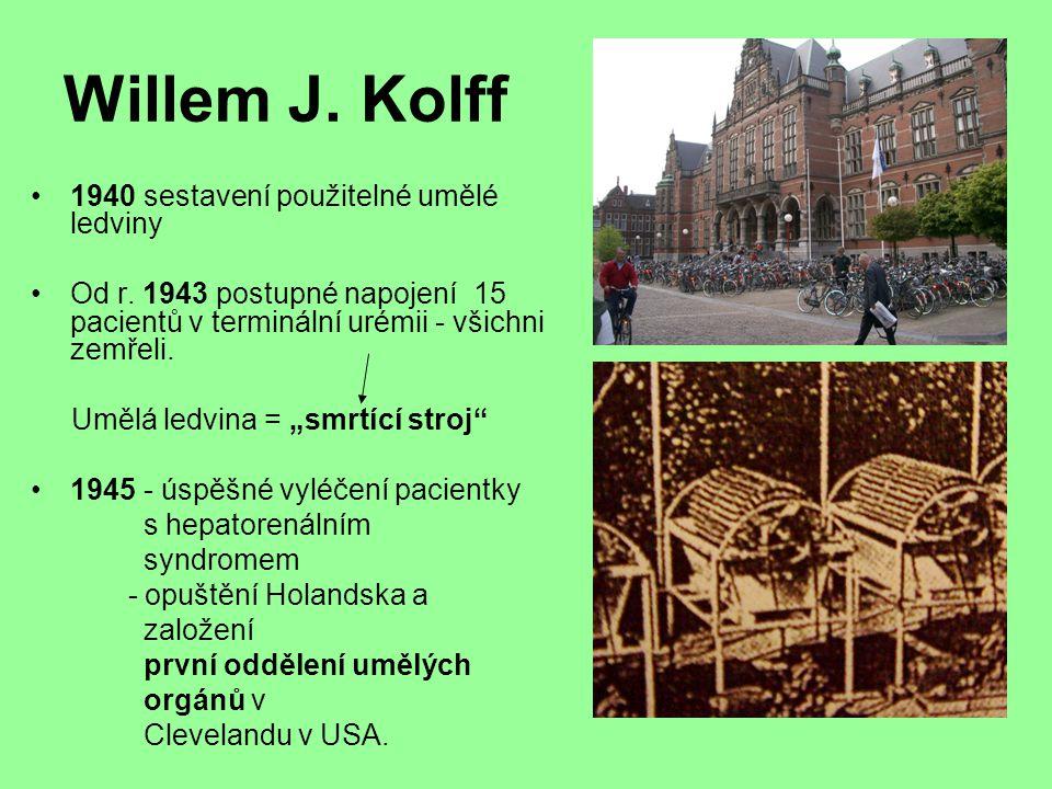 Willem J. Kolff 1940 sestavení použitelné umělé ledviny
