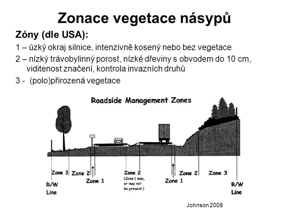 Zonace vegetace násypů