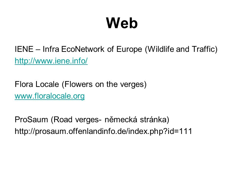 Web IENE – Infra EcoNetwork of Europe (Wildlife and Traffic)