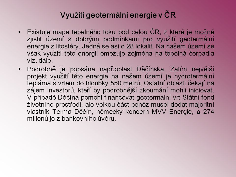 Využití geotermální energie v ČR