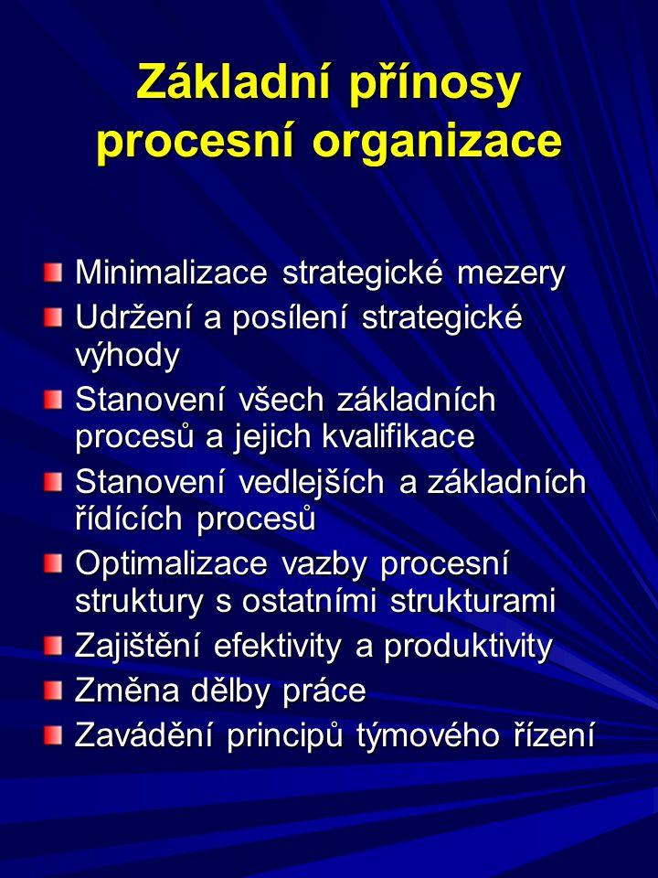 Základní přínosy procesní organizace