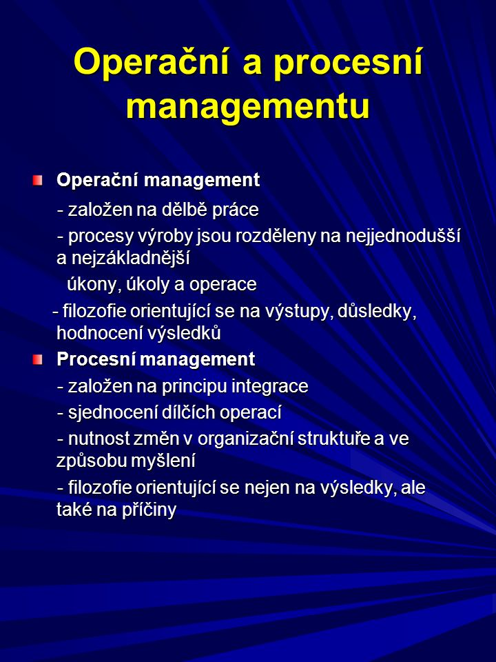 Operační a procesní managementu