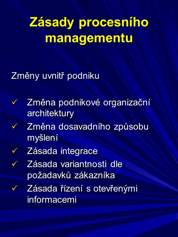 Zásady procesního managementu